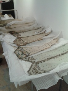 Selecting 18th century waistcoats to go on show
